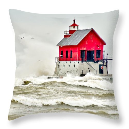 Beach Throw Pillow featuring the photograph Stormy At Grand Haven Light by Nick Zelinsky
