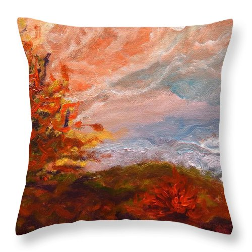 Windy Autumn Day Throw Pillow featuring the digital art Stormy Autumn Day by Lilia D