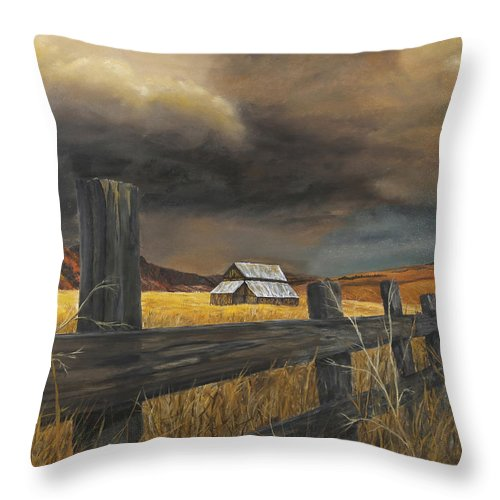 Nature Throw Pillow featuring the painting Stormy Clouds by Johanna Lerwick