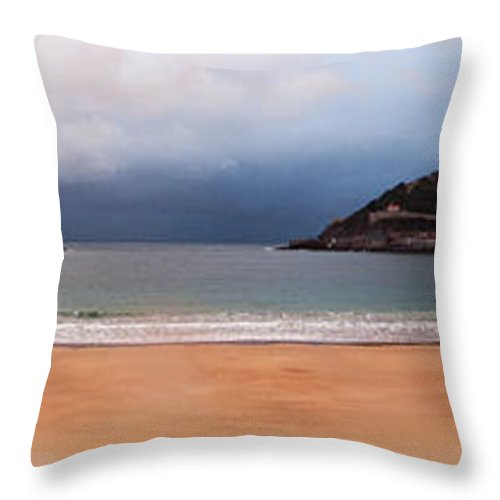 Bay Throw Pillow featuring the photograph Stormy Day On The Beach by Weston Westmoreland