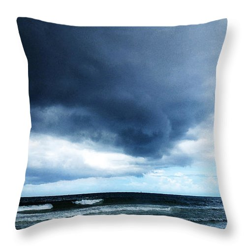 Storm Throw Pillow featuring the painting Stormy - Gray Storm Clouds By Sharon Cummings by Sharon Cummings