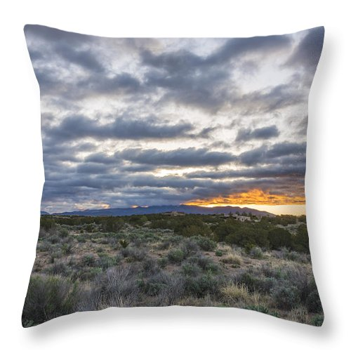 Sangre De Christo Santa Fe Sunrise Northern New Mexico Nm Throw Pillow featuring the photograph Stormy Santa Fe Mountains Sunrise - Santa Fe New Mexico by Brian Harig