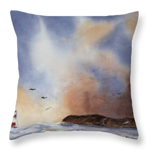 Sealscape Throw Pillow featuring the painting Stormy Sea by Patricia Novack