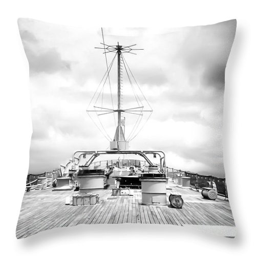 Storm Throw Pillow featuring the digital art Stormy Ship by Lori Frostad