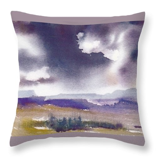 Clouds Throw Pillow featuring the painting Stormy Skies by Anne Duke