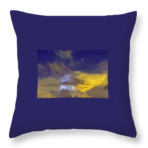 Lightning Throw Pillow featuring the photograph Stormy Stormy Night by Charlotte Schafer