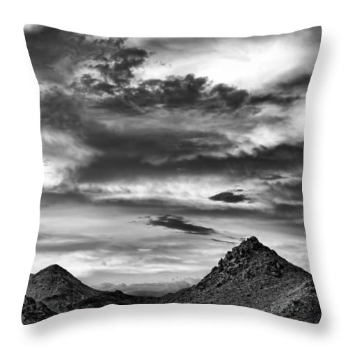 Landscape Throw Pillow featuring the photograph Stormy Sunset Over Nevada Desert by Leah McDaniel