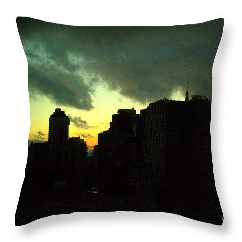 New York Skyline Throw Pillow featuring the photograph Stormy Sunset - New York City Skyline by Miriam Danar