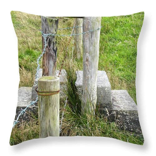 Stile Throw Pillow featuring the photograph Straddle The Fence by Charlie and Norma Brock