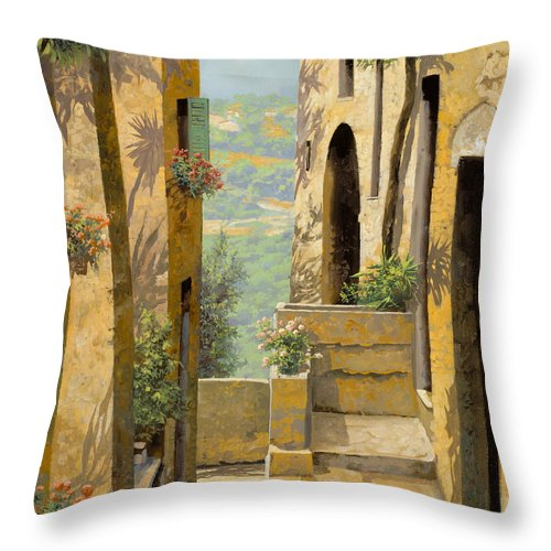 Landscape Throw Pillow featuring the painting stradina a St Paul de Vence by Guido Borelli