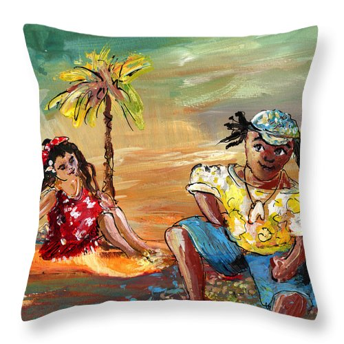 Travel Throw Pillow featuring the painting Stranded In Tahiti by Miki De Goodaboom