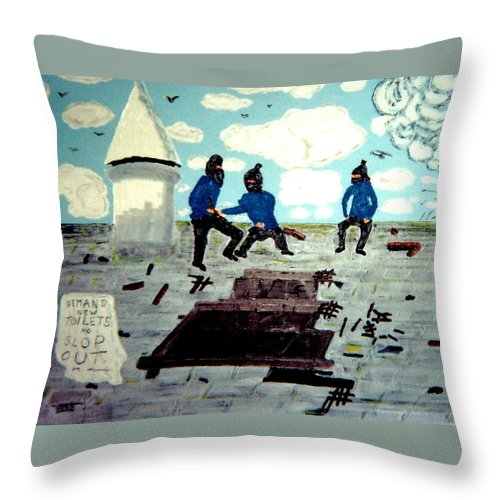 Historical Art Throw Pillow featuring the painting Strangeways Prison Riots Uk.1990s by MERLIN Vernon