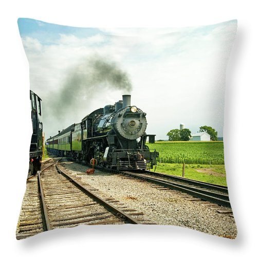 Railroad Throw Pillow featuring the photograph Strasburg Express by Paul W Faust - Impressions of Light