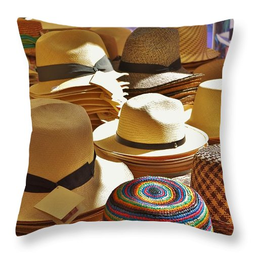 Hat Throw Pillow featuring the photograph Straw Hats by Dany Lison