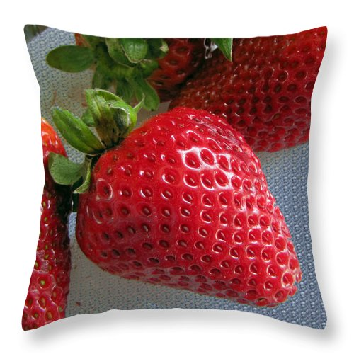 Fruit Throw Pillow featuring the photograph Strawberries by Tikvah's Hope
