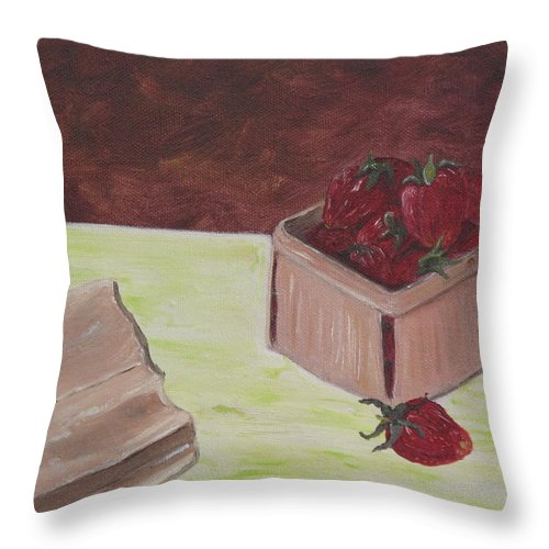 Fruit Throw Pillow featuring the painting Strawberry Basket by Barbara McDevitt