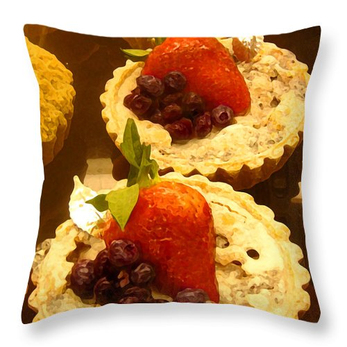 Food Throw Pillow featuring the painting Strawberry Blueberry Tarts by Amy Vangsgard
