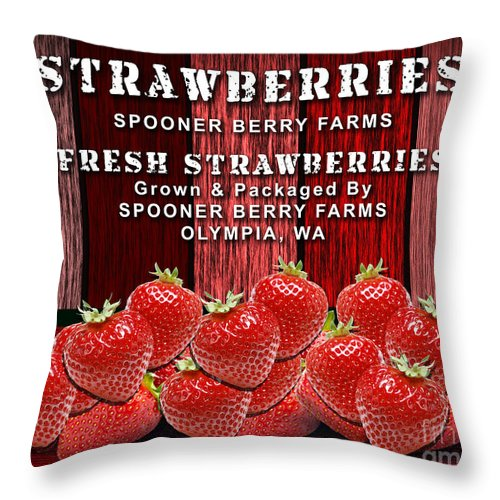 Strawberry Throw Pillow featuring the mixed media Strawberry Farm by Marvin Blaine