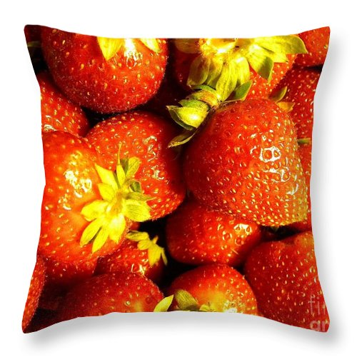 Strawberry Throw Pillow featuring the digital art Strawberry Fields by Matthew Seufer