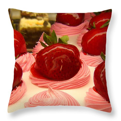Food Throw Pillow featuring the painting Strawberry Mousse by Amy Vangsgard