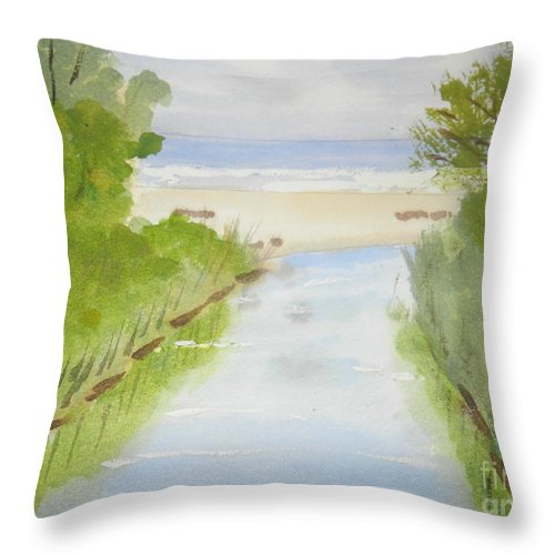 Impressionism Throw Pillow featuring the painting Stream Running To The Ocean by Pamela Meredith