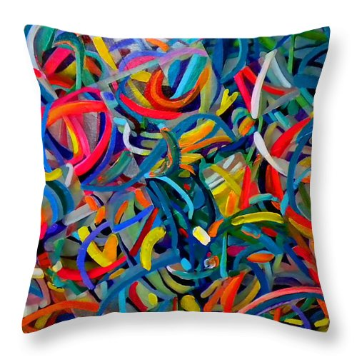 Abstract Throw Pillow featuring the painting Streamers Of Joy by Michael Durst