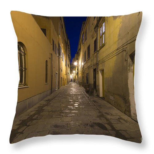 Alley Throw Pillow featuring the photograph Street Alley By Night by Mats Silvan