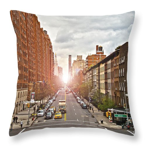 Apartments Throw Pillow featuring the photograph Street As Seen From The High Line Park by Amy Cicconi