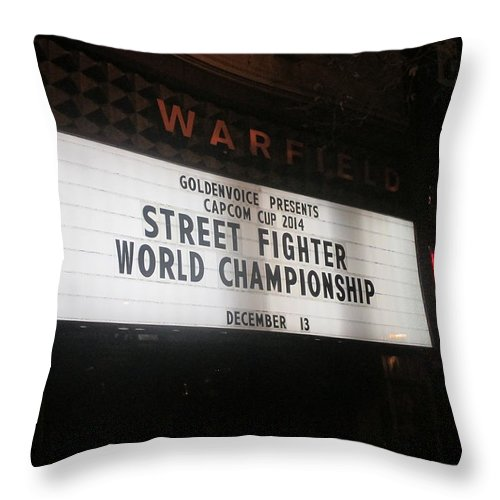 Street Throw Pillow featuring the photograph Street Fighter World Championship - Warfield Marquis Sign by David Lovins