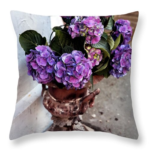 Street Flowers Throw Pillow featuring the photograph Street Flowers by John Rizzuto