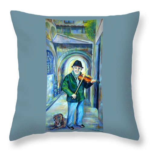 Italy Throw Pillow featuring the painting Italian Street Music. Part Two by Anna Duyunova
