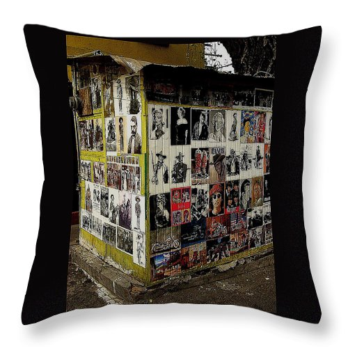 Street Photographer's Shed Icons Us/mexico Border Nogales Sonora Mexico John Wayne Clint Eastwood Marilyn Monroe Elvis Presley John Lennon James Dean Paul Mccartney Charlie Chaplin Frida Kahlo Emiliano Zapata Pancho Villa Other Mexican Revolutionaries Throw Pillow featuring the photograph Street Photographer's Shed Icons Us/mexico Border Nogales Sonora Mexico 2003 by David Lee Guss