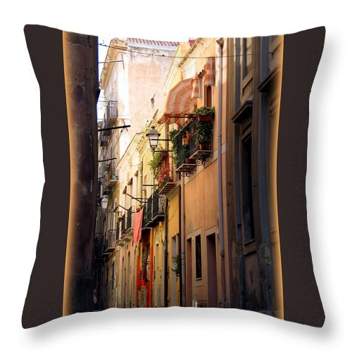 Italy Throw Pillow featuring the photograph Street Scene In Italy by Carla Parris