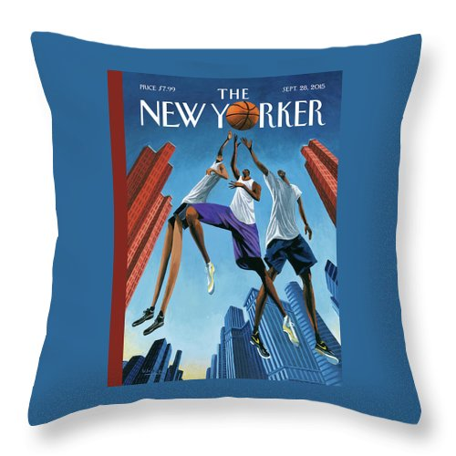 Basketball Throw Pillow featuring the painting Streetball by Mark Ulriksen