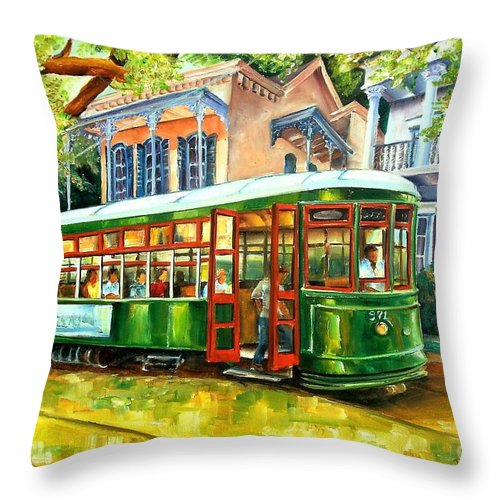 New Orleans Throw Pillow featuring the painting Streetcar On St.charles Avenue by Diane Millsap