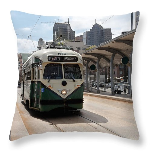 Streetcar Throw Pillow featuring the photograph Streetcar Route by Jo Ann Snover