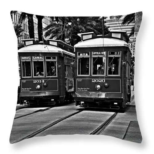 Streetcars Throw Pillow featuring the photograph Streetcars New Orleans by Christine Till