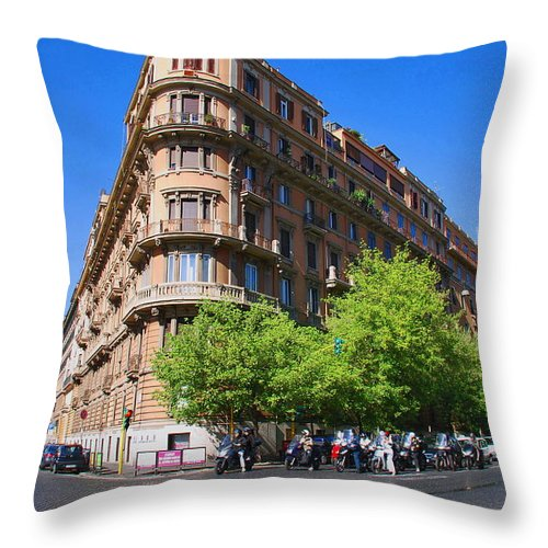 Street Throw Pillow featuring the photograph Streetcorner In Rome by Richard Booth