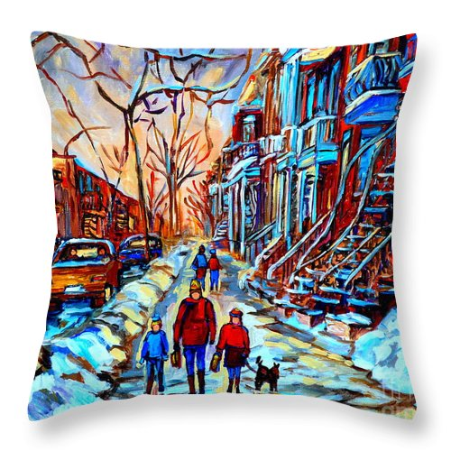 Montreal Throw Pillow featuring the painting Streets Of Montreal by Carole Spandau