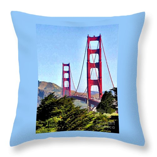 Golden Gate Bridge Throw Pillow featuring the photograph Strength In Beauty by Jay Milo