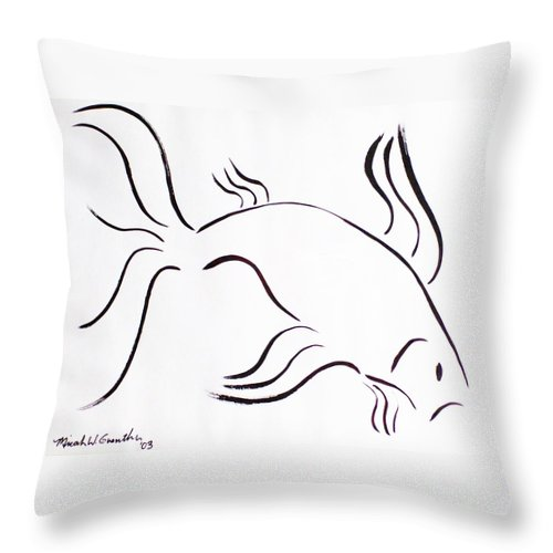 Abstract Throw Pillow featuring the drawing Strength by Micah Guenther