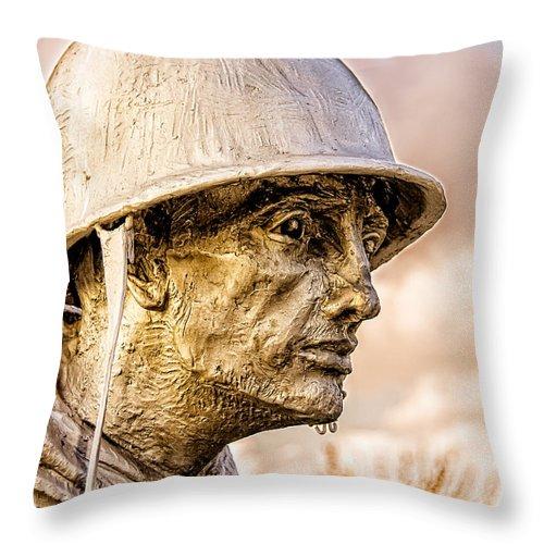 Korea Throw Pillow featuring the photograph Stress Of Korean War by Christopher Holmes