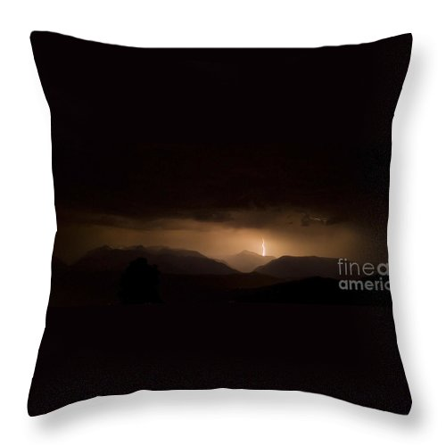 Lightning Throw Pillow featuring the photograph Striking Mountain by Andrea Goodrich