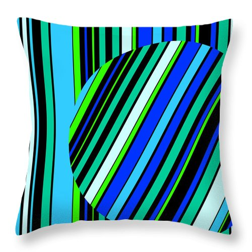 Abstract Throw Pillow featuring the painting Striped Circle C2014 by Paul Ashby