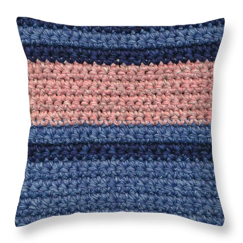 Background Throw Pillow featuring the tapestry - textile Striped Crochet Cloth by Kerstin Ivarsson