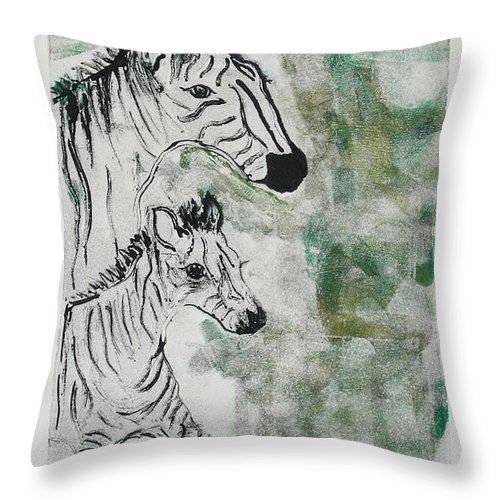 Zebras Throw Pillow featuring the mixed media Striped Duet by Cori Solomon