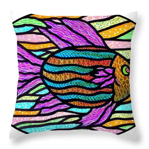 Tropical Throw Pillow featuring the painting Striped Tropical Fish by Jim Harris
