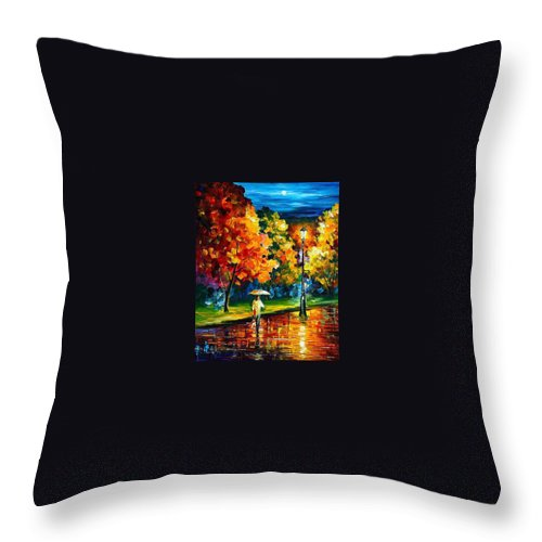 Oil Paintings Throw Pillow featuring the painting Stroll In The Night - Palette Knife Oil Painting On Canvas By Leonid Afremov by Leonid Afremov