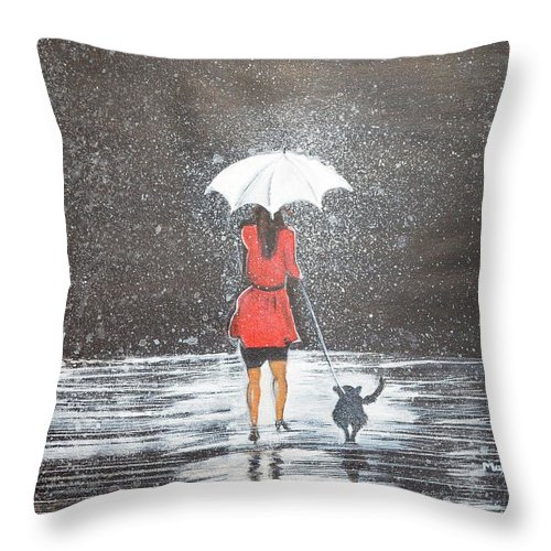 Rain Throw Pillow featuring the painting Stroll in the Rain by Manjiri Kanvinde