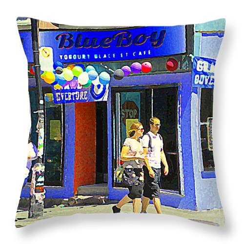 Montreal City Scenes Throw Pillow featuring the painting Strolling By The Blue Boy Frozen Yogurt Glacee Cafe Plateau Mont Royal City Scene Carole Spandau  by Carole Spandau
